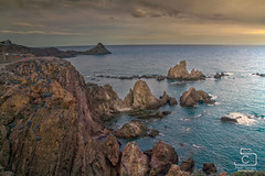 reef of the sirens (Opera.Pink - d s g n) Tags: sea sky españa clouds landscape mar andalucía spain mediterranean paisaje reef volcanic almería mediterráneo arrecifedelassirenas parquenaturalcabodegata reefofthesirens
