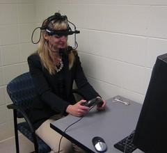 Participant in head gear