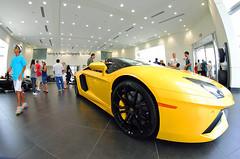 Aventador Roadster (8mm) (Infinity & Beyond Photography) Tags: car yellow florida exotic showroom lamborghini dealership dealer supercars roadster aventador lp700