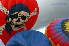 Sky Pirate (alvinsimpson86) Tags: blue red sky hot color colors balloons skull air flight crossbones