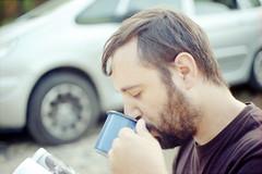 film (La fille renne) Tags: morning portrait man film coffee car analog 35mm spain hiking drinking roadtrip hike canonae1program costabrava catalogna 50mmf18 lomography100 lafillerenne