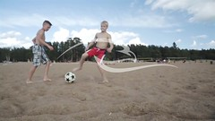 Playing Football Children On Beach (alekseiptitsa) Tags: boy summer vacation people playing game male beach nature sport youth ball children relax fun outdoors coast football sand day child play friendship soccer young lifestyle happiness human together leisure caucasian