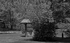 By the Wishing Well-horizontal (Michiale Schneider) Tags: black white elmore ohio wishing well schedel garden arboretum nature michialeschneiderphotography monochrome blackandwhite landscape