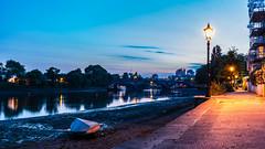 Kew Bridge Blue (JB_1984) Tags: uk bridge england reflection london water thames river boat twilight unitedkingdom dusk lamppost bluehour lantern lowtide riverbank riverthames thamespath chiswick kewbridge strandonthegreen londonboroughofhounslow