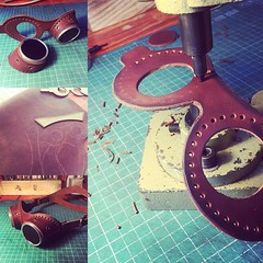 Making of a pair of leather goggles. #Cyberpunk #CyberGoth #postapocalyptic #postapocalypse #steampunk #steampunkmask #leathermask #handmade #LARP #dieselpunk #leather #Darkart #costume #burningman #goggles (tovlade) Tags: black girl face make up leather punk hand mask goth goggles made doctor cyber cybergoth cyberpunk plague larp steampunk postapocalyptic postapocalypse dieselpunk