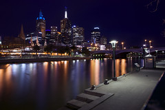 melbourne at night (mariusz kluzniak) Tags: city skyline architecture modern night reflections long exposure cityscape empty australia melbourne riverbank