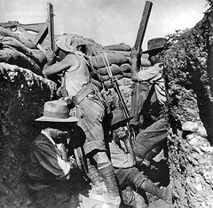 Australian sniper using a periscope rifle at Gallipoli, 1915. He is aided by a spotter with a periscope. The men are believed to belong to the Australian 2nd Light Horse Regiment and the location is probably Quinn's Post. [800779] #HistoryPorn #history # (Histolines) Tags: light horse men history by is with post rifle australian location retro 2nd using sniper timeline he quinns 1915 gallipoli belong probably periscope regiment the believed spotter aided vinatage historyporn histolines 800779 httpifttt1yvjypc