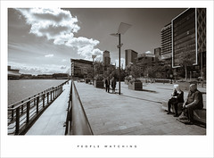 People watching (Parallax Corporation) Tags: people blackandwhite architecture clouds candid perspective salfordquays duotone mediacity