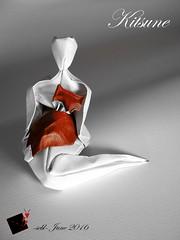 kitsune (-sebl-) Tags: kay challenge origami sebl fox japan kitsune arches paper square paint acrylic