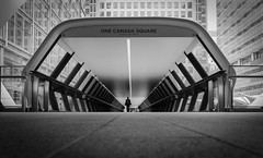 A step into the future (Mark Fearnley Photography) Tags: street blackandwhite bw streetart london art monochrome silhouette nikon pov fineart streetphotography canarywharf bnw canadasquare nikond800
