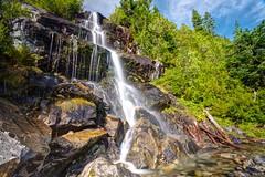 Sunny falls (Jojo Septantesix) Tags: photomatix water falls waterfall gothic basin washington cascades mountains blue sky trees rocks density filter long exposure