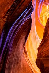 The Antelope Canyon, Page, (beatricepreve) Tags: morning winter light shadow red summer arizona orange usa southwest color texture nature beauty yellow rock wall landscape spring sandstone scenery shiny pattern order bright image background stage silk canyon illuminated upper flame lilac riverbed page heat speaker antelope glowing iridescent lower navajo effect striped important luminosity