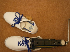 Change of plan- the new pair was defective so I used the car jack on those instead (eurimcoplimsoll) Tags: trash jack shoes sneakers trainers canvas clones vans gym destroy plimsolls plimsoles