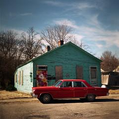 Baldwin Street, Louisville (deatonstreet) Tags: house abandoned 120 film car vintage kodak kentucky historic louisville 100 rambler parkhill automat flexaret ektar