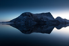 Cold reflection (Matamat) Tags: blue sunset reflection norway canon reflections dark darkness magic reflet reflect fjord bluehour lofoten coucherdesoleil norvege vagspollen mathieulanglois