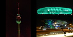 Munich was Green! (St. Patrick's Day 2015) (Claude@Munich) Tags: world color colour green tower collage architecture modern germany munich mnchen bayern deutschland bavaria colorful nacht stadium mosaic oberbayern illumination bmw architektur fernsehturm grn stadion stpatricksday beleuchtung allianzarena nachts olympiaturm mosaik olympictower broadcasttower footballstadium frttmaning soccerstadium claudemunich bmwworld bwmwelt fusballstadion sanktpatrick