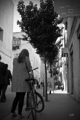 Discovering the city (Kybenfocando) Tags: barcelona street city people blackandwhite tree blancoynegro bike calle chica gente streetlife ciudad bicicleta rbol citycentre