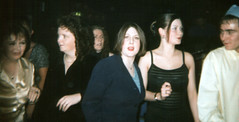 Sue Massey, Joanne Byrne, Shelly Leach and Leo Cain. Xmas '97-Manning's (R.J.Boyd) Tags: christmas people women parties workmates wilkinson