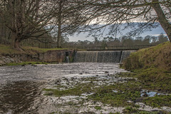 lakeside weir (ginger_scallywag) Tags: xmas uk trees winter england lake tree tower abbey silhouette photoshop canon picnic dusk deer swans watergarden georgian fountains nationaltrust northeast stmaryschurch christmascake cs6 templeofpiety octagontower fountainshall eos40d moonpond tamron17300