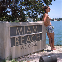 (*johnnyfavorite) Tags: travel usa 6x6 film beach analog fuji florida miami south hasselblad journey epson venetian medium format provia causeway 100f 500cm v700