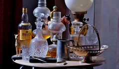 """No Room For The """"Glenfiddich Pure Malt"""" (standhisround) Tags: stilllife greyhound glasses objects whisky dust compass racehorse decanters beswick oillamps tankard scotchwhisky lesterpiggottonnijinsky"""