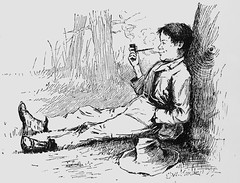 """""""Solid Comfort."""" Art by E. W. Kemble from """"Adventures of Huckleberry Finn"""" by Mark Twain (1885). First U.S. edition. (lhboudreau) Tags: illustration book etching drawing illustrations drawings books webster marktwain bookart 1885 hardcover etchings samuelclemens huckfinn kemble firstedition vintagebook huckleberryfinn smokingpipe pipesmoking hardcovers classicfiction charleswebster hardcoverbooks hardcoverbook adventuresofhuckleberryfinn classicstory charleslwebster classictale solidcomfort ewkemble firstamericanedition firstusedition charleslwebsterco charleslwebsterandcompany"""