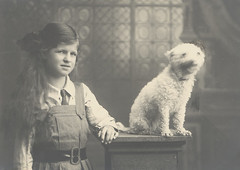 Mrs Webster & her dog Snowy [girl with dog] (State Library Victoria Collections) Tags: 1920s dogs australia melbourne victoria 1910s 1915 1925 statelibraryofvictoria statelibraryvictoria