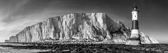 Beachy Head B+W Pano (JamboEastbourne) Tags: park england bw panorama cliff lighthouse white black sisters downs landscape sussex mono chalk head pano south panoramic cliffs east national seven eastbourne beachy
