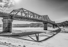 Bridge Shadow (Bernie Kasper (5 million views)) Tags: bridge family winter shadow bw snow art ice river landscape photography nikon kentucky historic ohioriver madisonindiana berniekasper
