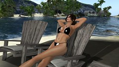 Like ive not a care in the world (alexandriabrangwin) Tags: world wood old black beach sunglasses computer 3d sand chair graphics shiny crossing side relaxing resort glossy bikini secondlife virtual latex string ponytail far cgi drift chilled currents alexandriabrangwin
