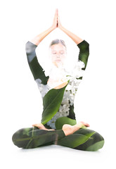 Yoga, double exposure (Victor Tondee) Tags: woman white plant abstract flower art nature floral girl beautiful fashion sport yoga female cutout pose leaf spring healthy exposure peace exercise artistic lotus body background creative young lifestyle double health attractive multiple serene meditation unusual conceptual spiritual workout enlightenment effect eco stretching isolated multi fit asana pilates closedeyes wellbeing