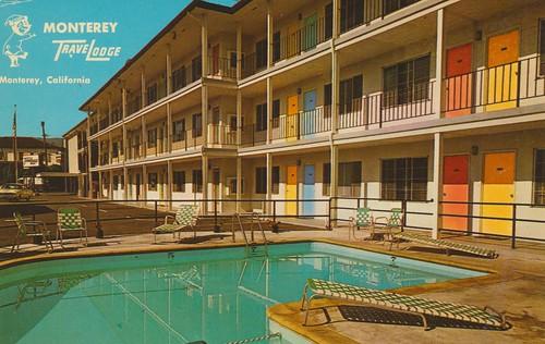 california pool vintage monterey postcard motel travelodge
