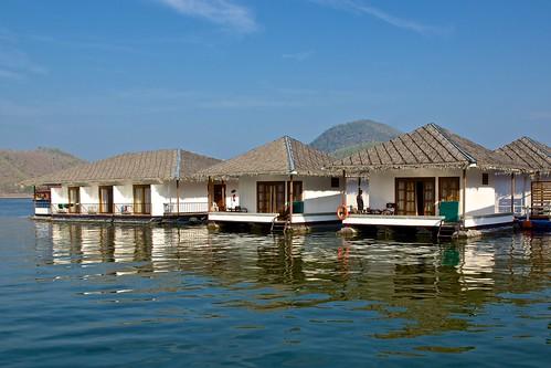 The floating rooms of Lake Heaven Resort on Srinakarin lake in Kanchanaburi province, Thailand