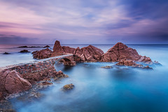 Ponts de Canyet [EXPLORE] (David Quintana) Tags: sea costa beach water clouds sunrise landscape coast mar agua rocks playa paisaje girona explore shore cielo nubes costabrava rocas abigfave