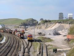 Peak Forest 60's (mike_j's photos) Tags: uk red train tug railways quarry freight dbs ews class60 60079 60092 nikonp530