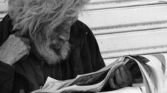 Vamoa leerlo (donKurotashio) Tags: poverty city persona book newspaper leer homeless culture libro society hombre barba lectura informacin peridico vagabundo conocimiento humildad maip