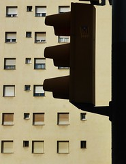 Traffic Light (teaselbrush) Tags: barcelona city windows light urban geometric silhouette architecture spain traffic geometry flats block towerblock