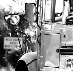 Reflections of a School Bus (kimedwards1123) Tags: school blackandwhite bw bus mirror dof schoolbus 2016 photochallenge