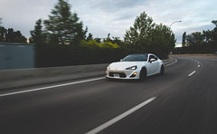 Scion FR-S (eric.vanryswyk) Tags: road blue trees sunset sky motion lines car clouds dark dawn evening twilight nikon highway dusk pavement wheels twin automotive subaru toyota roller 20mm nikkor f18 curve scion 86 rolling ae86 d610 brz frs hachiroku gt86
