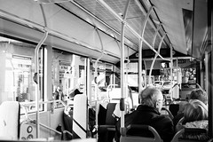 Commuting (lorenzoviolone) Tags: barcelona trip travel people blackandwhite bw bus monochrome mirror blackwhite coach spain strangers journey commute finepix fujifilm commuting catalunya publictransport fav10 agfascala200 mirrorless vsco vscofilm fujix100s x100s fujifilmx100s travel:spain=barcelona2015