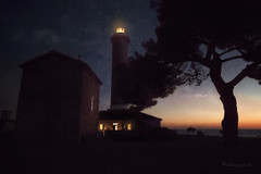 a place to find the way (cherryspicks) Tags: travel blue light sea lighthouse building tower art night dark darkness artistic dusk croatia canvas beacon adriatic watchtower