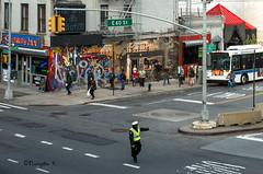 Corner of the Subway Inn (Bruce Livingston) Tags: nyc newyorkcity streetphotography rooseveltisland trafficcop rooseveltislandtramway nikon3570mmf28d d800e