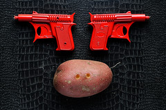 D is for Duelling Potato (Apionid) Tags: red stilllife black potato duel guns spudgun werehere day139366 nikond7000 hereios 366the2016edition 3662016 18may16