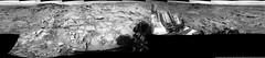 Mars: End-of-Drive 360 Panorama [8192x1799 pxls] (PaulH51) Tags: blackandwhite bw mars landscape rocks science nasa geology exploration discovery jpl caltech bedrock msl lewisandclarktrail 360degreepanorama planetmars marssciencelaboratory curiosityrover galecrater endofdrivemosaic endofdrivepanorama naukluftplateau leftnavigationcamera
