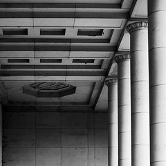 Sacred Corners (Raminta Si) Tags: brussels bw building architecture square concrete blackwhite construction belgium eu column 1x1