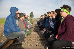 small meditation on rail track blockade at Break Free PNW 2016 photo taken by Alex Garland img_2446 (Backbone Campaign) Tags: water justice washington energy kayak break action politics protest creative paddle shell free social demonstration oil change wa environment activism anacortes campaign pnw refinery climatechange climate tesoro artful backbone renewable refineries 2016 kayaktivist kayaktivism breakfreepnw