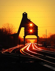 This Year's Version (JayLev) Tags: tower up sunrise coal dekalb chute coaling cnw