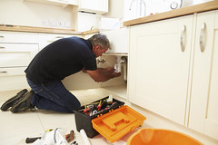 Male plumber fixing a kitchen sink (reputationtempe) Tags: man men home kitchen horizontal work diy bucket adult sink plumbing pipe working fulllength equipment indoors repair faucet service fixing repairing 50s plumber copyspace awkward sideview adjusting kneeling job leaning preparation oneperson builder career profession toolbox caucasian handyman occupation concentrating repairman installing smallspace middleaged domesticinterior lowangleview usingtools