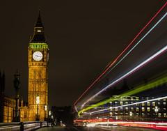 Westminster light trails:Take 2 (Gnome Girl!) Tags: city uk bridge england bus london clock westminster night bigben nighttime motionblur lighttrails