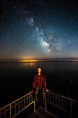 Just Me and the Milky Way (Matt Molloy) Tags: sky ontario canada me water night reflections myself stars landscape photography lights dock bath railing milkyway lovelife mattmolloy finklepark